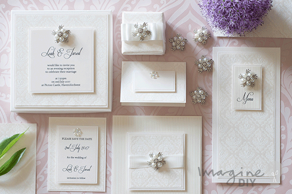 Ivory Embossed Wedding Stationery Elegant DIY wedding stationery. Embossed wedding stationery with crystal and pearl details.