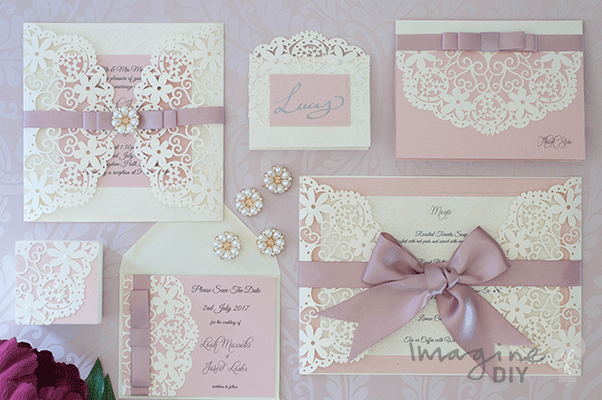 Elegant wedding ideas. Make your own wedding stationery in dusky pink and cream.