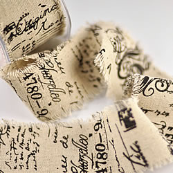 Script Frayed Edge Burlap Ribbon   part of our Burlap & Natural Texture range of DIY wedding stationery and craft supplies   Imagine DIY