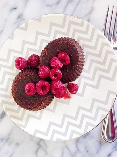 Individual Chocolate Molten Lava Cakes with Sugar-Coated Raspberries