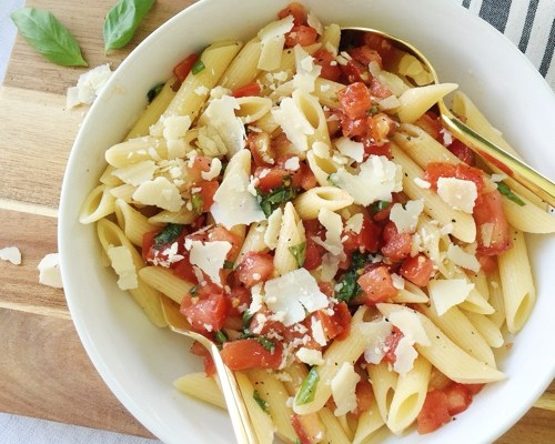 Fresh Summer Pasta with Shaved Parmesan