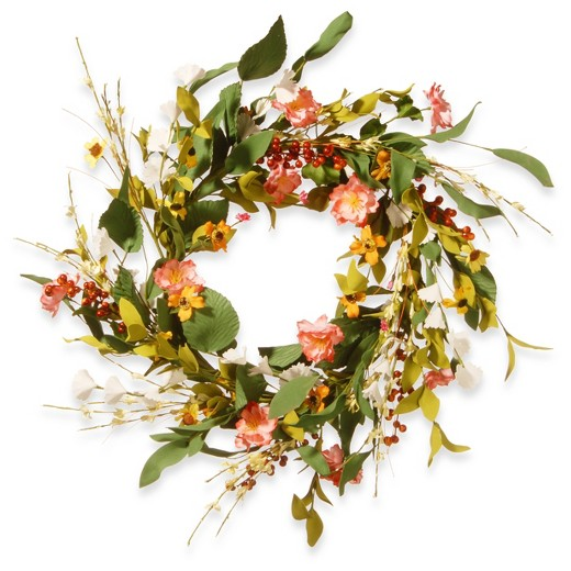 10 Beautiful Spring Wreaths-spring-flower-wreath-pink-target