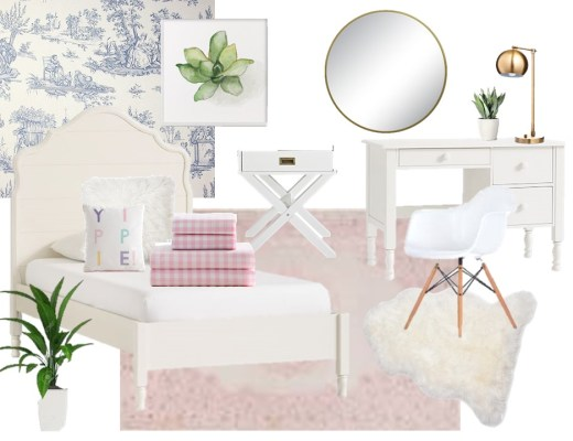 Feminine Girls Bedroom Ideas Mood Board