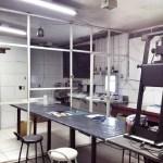 Área do laboratório em arrumação