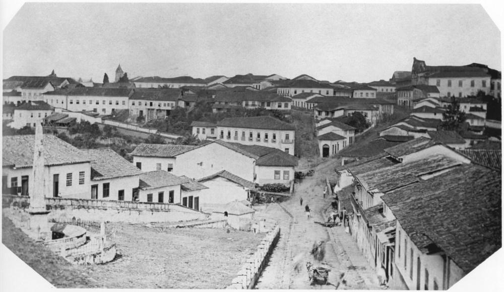 Cidade de São Paulo (Vista tirada do Paredão do Piques) 1862.<br />De Militão A. de Azevedo.