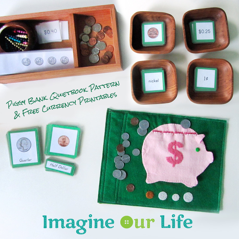 Piggy Bank Quietbook Pattern & Free Currency Printables