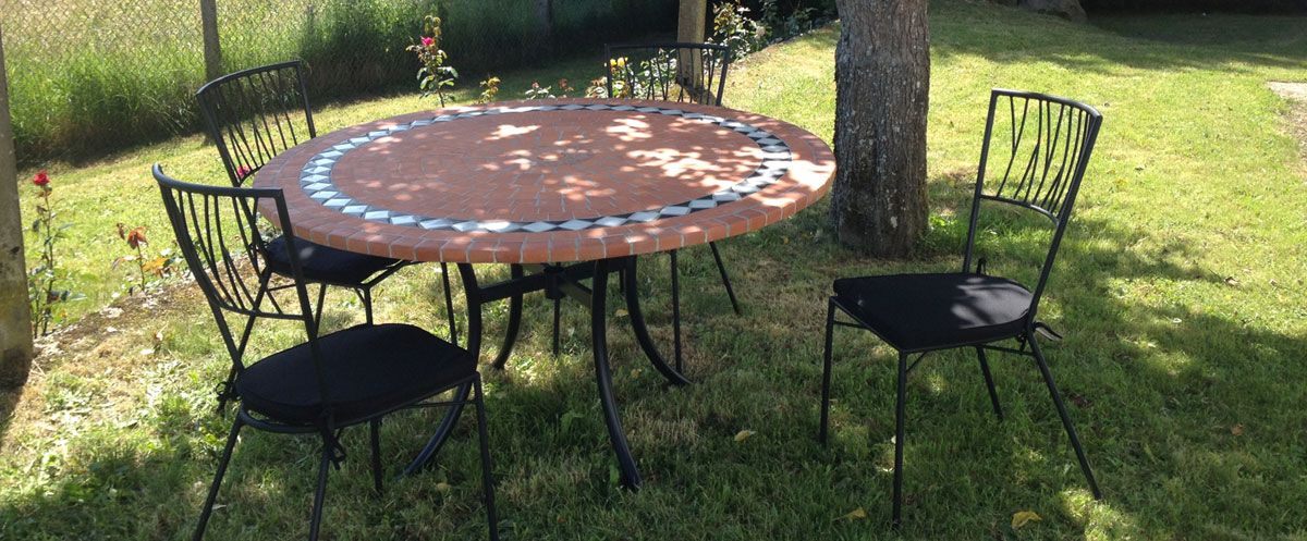 table mosaique table fer forge