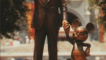 partners forever disney statue postcard