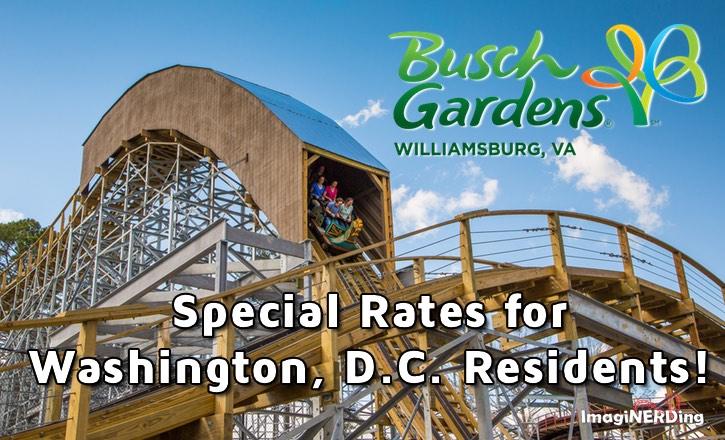 Special Washington DC Rates for Busch Gardens Williamsburg
