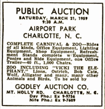 airport amusement park auction Charlotte