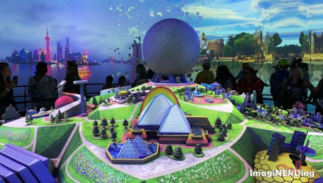 the imagination pavilion and spaceship earth models from epcot experience