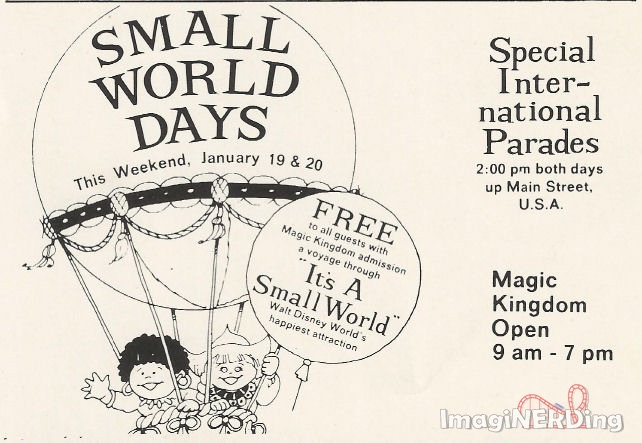 small world days at the magic kingdom in 1974