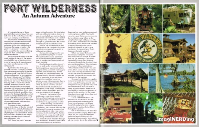 """article from the Fall 1980 Disney News that talks about a vacation at Fort Wilderness at Walt Disney World. Mentions the """"Funny Old Truck"""" also known as the Peddlar Truck."""
