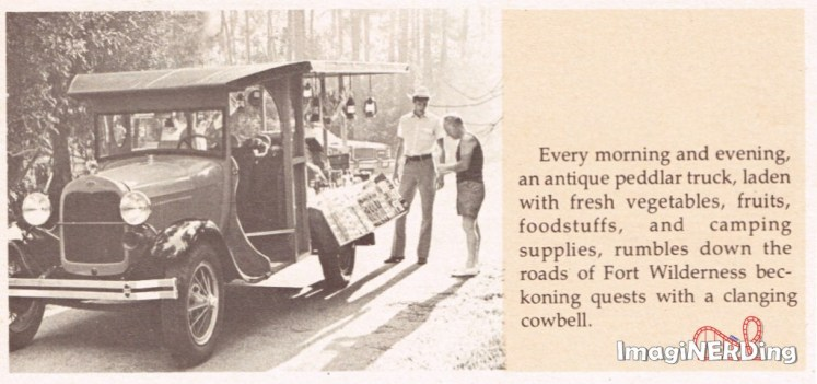Image from 1975 WDW News about the Fort Wilderness Peddlar Truck