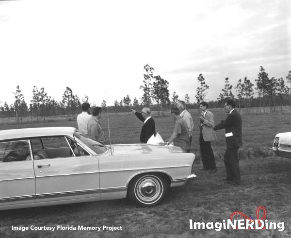 Roy Disney and Disney executives visit the Florida property on February 3, 1967