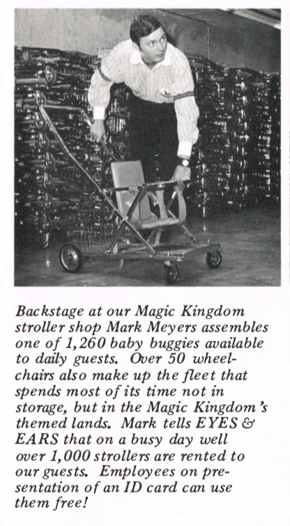 clipping from the June 29, 1972, Eyes & Ears about magic kingdom strollers