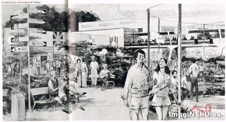 concept art from 1976 about international village at walt disney world