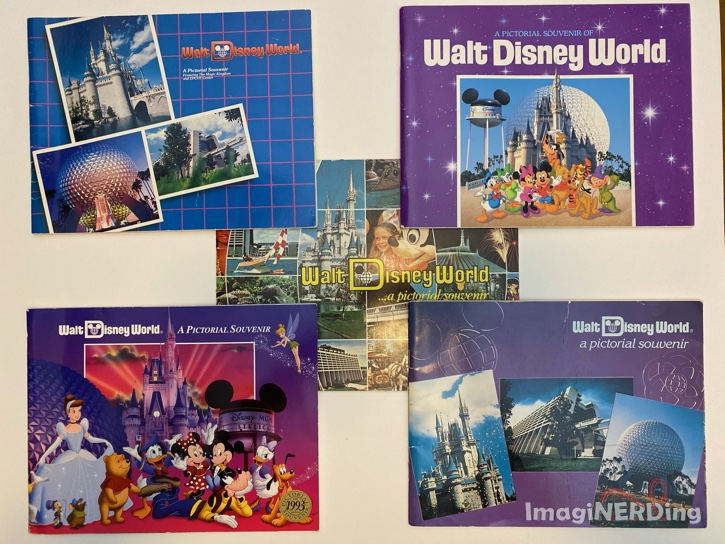 image of five of the walt disney world pictorial souvenir books