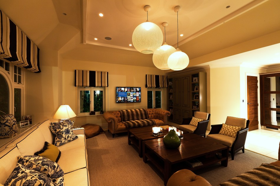 Layered lighting control in family room.
