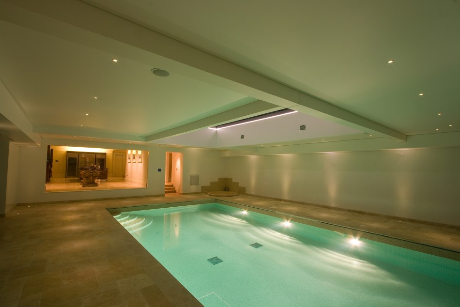 Pool with HVAC control and loudspeakers