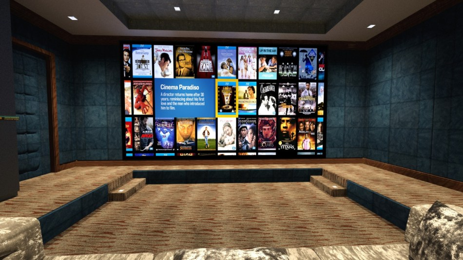 Home cinema design image, from seating looking towards screen.