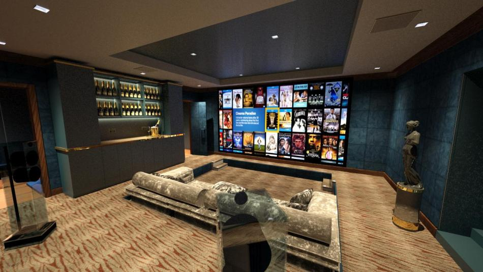 Cinema room from rear right, with sunken seating, Kaleidescape image and champagne bar.