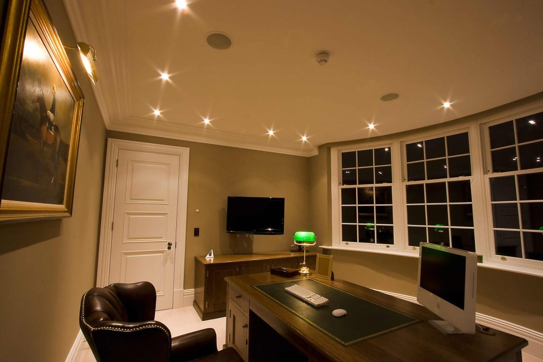 Smart home showing lighting, speakers, audio, video and network.