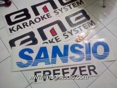 Stiker pesanan toko Mega Elektronik Makassar