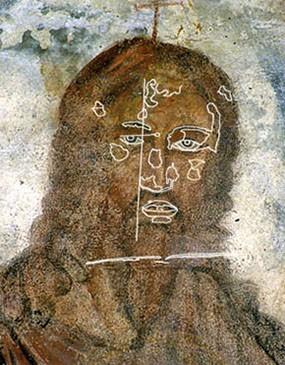 Abb. 34: Thronender Christus (Ausschnitt) mit Skizze