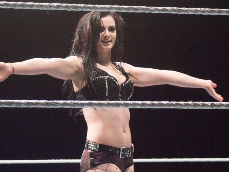 Paige poses in the ring
