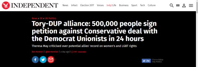 Tory DUP deal headline