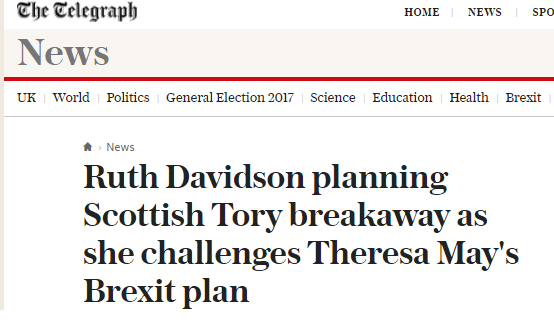 Scottish Tory breakaway headline