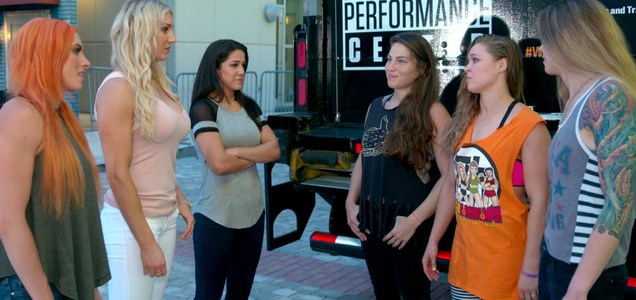 Ronda Rousey, Marina Shafir and Jessamyn Duke square up to Charlotte, Becky Lynch and Bayley
