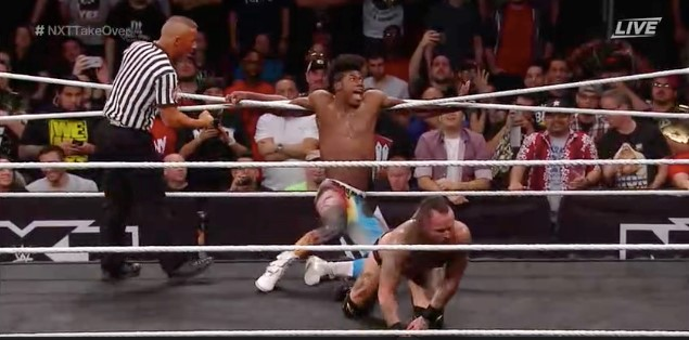 Velveteen Dream stuck in the ropes against Aleister Black at NXT Takeover: War Games