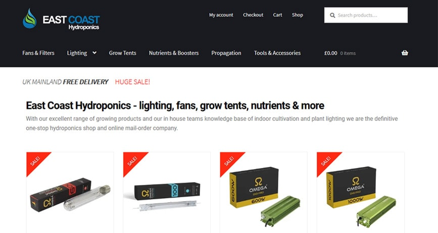 Online shop designer's portfolio of Eastcoasthydroponics in Colchester