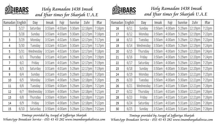 Holy Ramadan 1438 Imsak and Iftar Timings