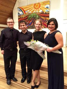 Left to Right: Geordie Roberts, Iman Habibi, Deborah Grimmett, Bahareh Poureslami - Following a performance of the Brahms Requiem with the Vancouver Peace Choir