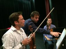 Working with the Emily Carr String Quartet at ArtSpring, 2014