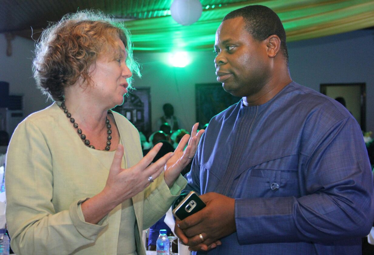 Danish Ambassador to Ghana, Tove Degnbol with IMANI President Franklin Cudjoe