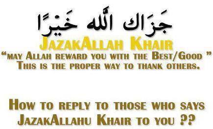 Replying Jazak Allahua Khayran