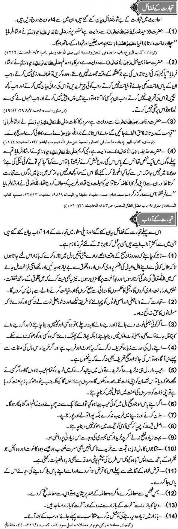 Tijarat Kay Fazail Aur Adaab