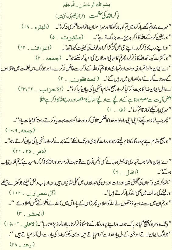 Zikr Allah Ki Azmat
