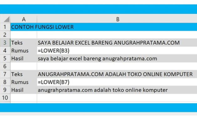 Cara Merubah Huruf Besar ke Huruf Kecil di Excel