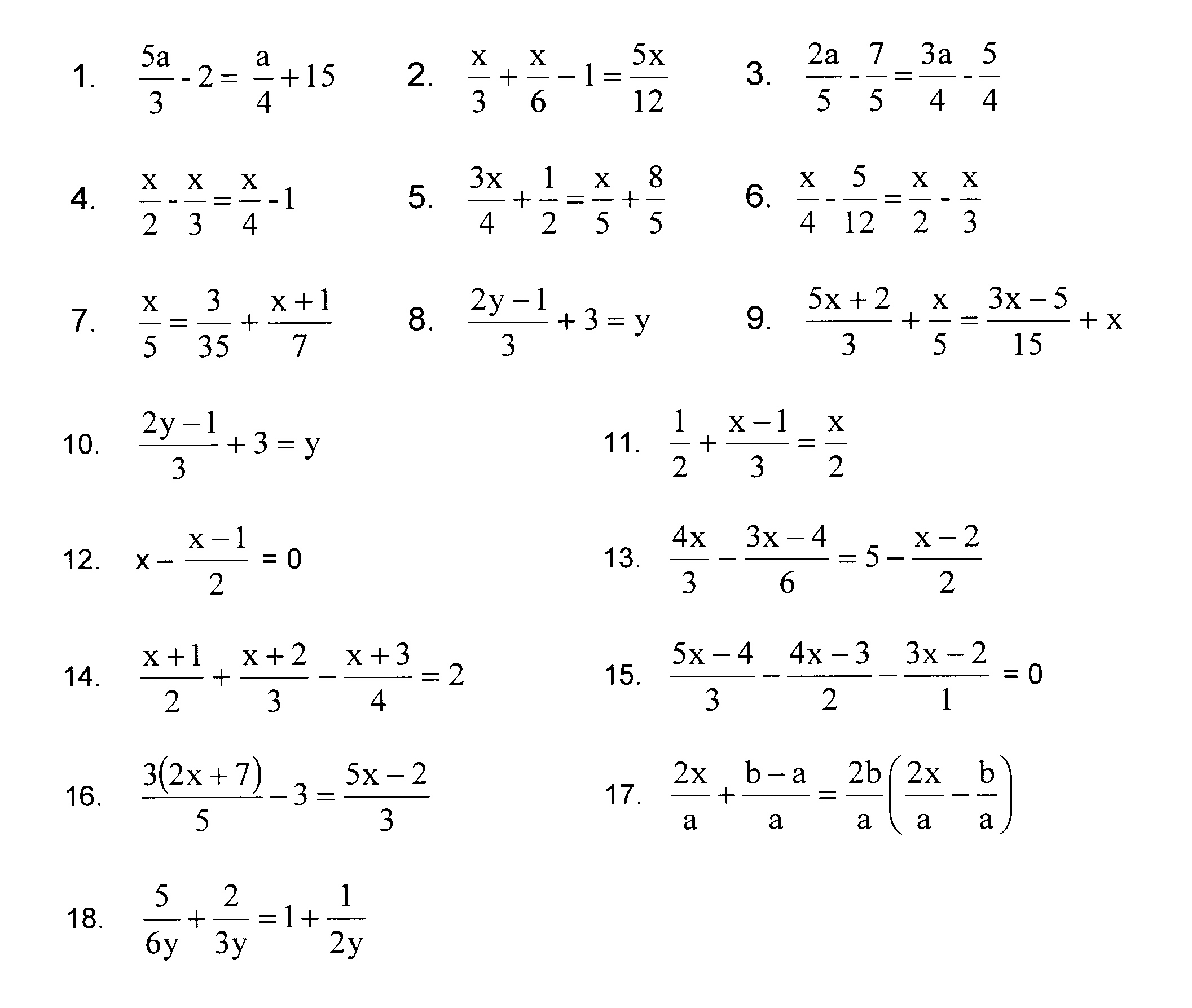 Solving Equations With Fractions And Variables On Both