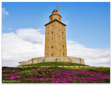 Comprar fotografía Faros de Galicia Torre de Hércules Océano Atlántico Primavera Flores Uñas de Gato Naturaleza Decoración