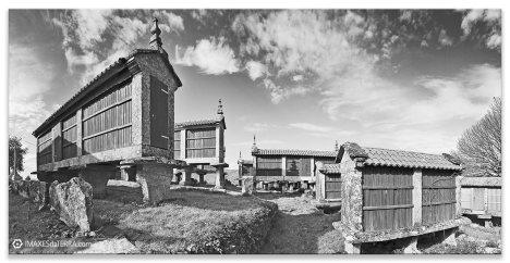 Hórreos  Eira  da Hermida  b& n, Comprar fotografía Galicia  Eira  da Hermida Branco e Negro Pontevedra Filgueira Cerdedo decoración paisaxes