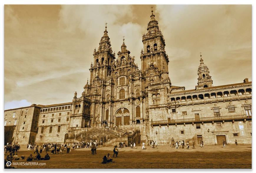 Catedral de Santiago, Comprar fotografía de Galicia Santiago de Compostela Catedral Peregrinos Praza  do  Obradorio Camiño de Santiago Decoración  Sepia