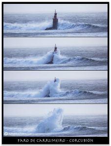 Faro de Carrumeiro, Comprar fotografa Faros de Galicia Carrumeiro Mozo Corcubión Temporal Mar ondas Natureza Decoración