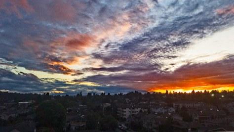 Sunset behind Olympic Mountains seen from Ballard, Washington