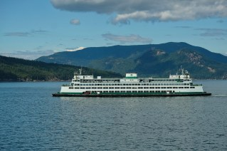 Washington State ferry and Mt Constitution, Orcas Island